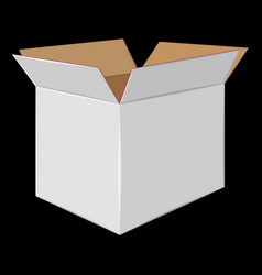 White cardboard open box side view package design vector
