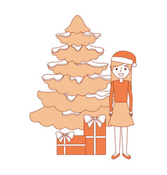 woman standing christmas tree and gift boxes vector image