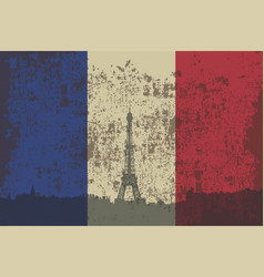 flag of france and contour of the city of paris vector image vector image