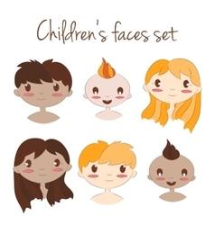 happy kids faces Cute vector image
