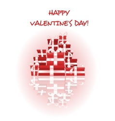 Happy Valentines Day card with stack of gifts vector image vector image