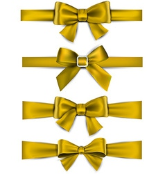 Satin golden ribbons gift bows vector