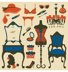 boudoir accessories collection vector image