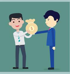 business man blue suite bring bag of money vector image