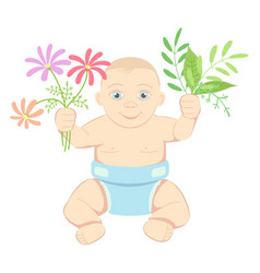 child with flowers and leaves vector image vector image
