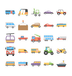 colorful flat icons set of transport vector image vector image
