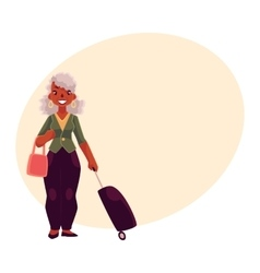 Old senior african american woman with suitcase vector