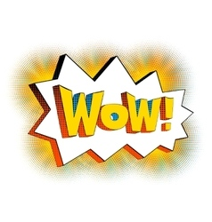 Wow lettering in cartoon comic bubble vector image vector image