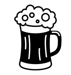 black beer icon glass filled with beer vector image vector image