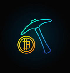 blue pick axe with golden bitcoin icon vector image vector image