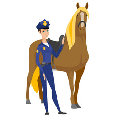 caucasian female police officer and horse vector image