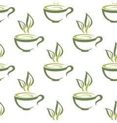 Cups of herbal tea seamless pattern vector image vector image