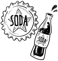 doodle soda bottle cap vector image