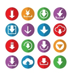 Downloading icons in color circles vector image