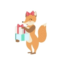 Fox Cute Animal Character Attending Birthday Party vector image vector image