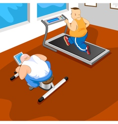 overweight mans in gym vector image vector image