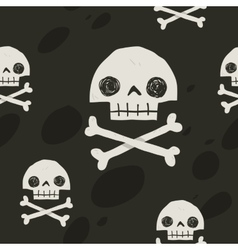 Pirate cartoon skull flag party card vector image