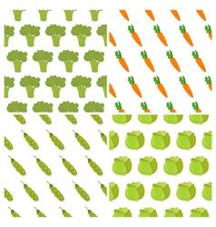 Set of vegetables seamless patterns Healthy food vector image