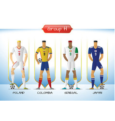 2018 soccer or football team uniform group h vector image vector image