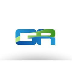 blue green gr g r alphabet letter logo vector image vector image
