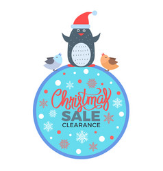 christmas sale clearance poster with penguin birds vector image