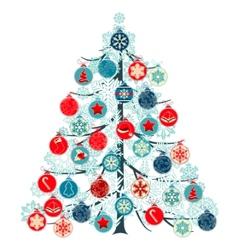 christmas tree made of balls vector image vector image