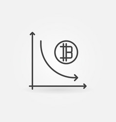 cryptocurrency decline graph line icon vector image vector image
