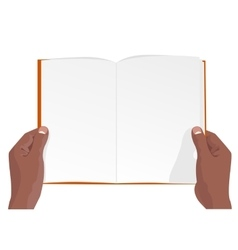 hands of african american holding a blank book vector image vector image