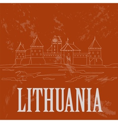 Lithuania landmarks retro styled image vector