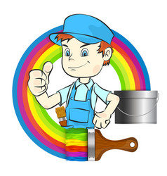 painter with brush vector image vector image