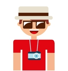 tourist man camera icon vector image