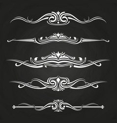 White flourish borders set on chalkboard vector