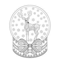 zentangle Christmas snow globe with reindeer vector image vector image