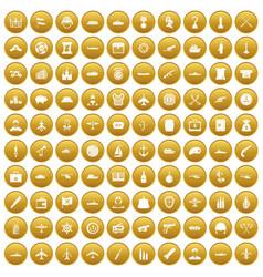 100 combat vehicles icons set gold vector