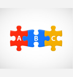 Abc puzzle pieces business or education steps vector