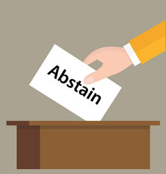 abstain choice vote hand putting a ballot paper in vector image