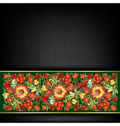 Abstract grunge black background with red floral vector