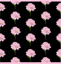 abstract hand drawn peony flower seamless pattern vector image