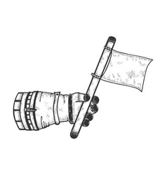 astronaut hand with blank white flag sketch vector image