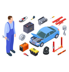auto mechanic and car tool isometric technician vector image