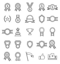 Award line icons on white background vector image