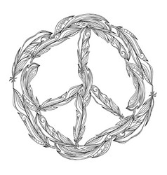 black and white boho sign of peace made of vector image