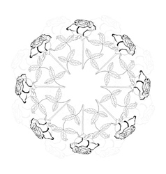 Black and white ornamental round with rose vector image