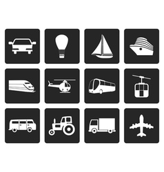 Black Transportation and travel icons vector
