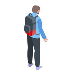 Boy backpack emigration icon isometric style vector