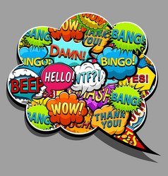 bright comic speech bubbles and sound effects vector image