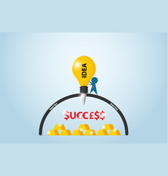 businessman drilling barrier with lightbulb drill vector image