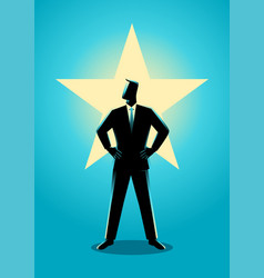 businessman standing with glowing star on his vector image