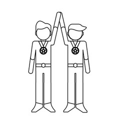 businessmen with medal black and white vector image