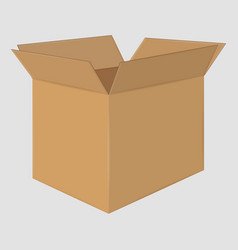 cardboard open box side view package design vector image